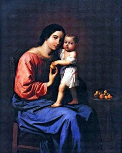 Madonna and Christ Child holding apple